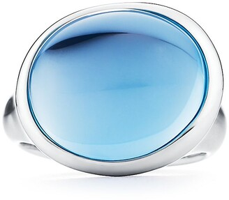 Tiffany & Co. Elsa Peretti Cabochon ring in sterling silver with blue topaz, mini