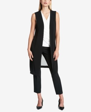 DKNY Sheer-Back Long Vest