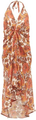 Dodo Bar Or Jennifer Gathered Floral-print Cotton-voile Dress - Brown Print