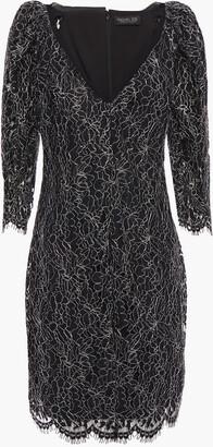 Rachel Zoe Anya Chiffon-trimmed Metallic Corded Lace Mini Dress