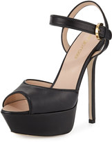 Sergio Rossi Peep-Toe Platform Leather Sandal, Black