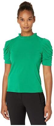 CeCe 3/4 Puffed Sleeve Mock Neck Top (Lush Green) Women's Blouse