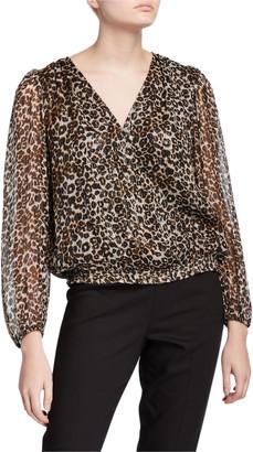 Velvet Melanie Leopard-Print Metallic Long-Sleeve Blouse
