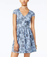 B. Darlin Juniors' Printed Illusion Fit & Flare Dress
