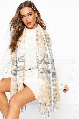 boohoo Knitted flannel Fringe Scarf