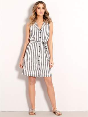 M&Co Petite stripe schiffli lace shirt dress