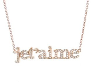 Jennifer Meyer Je T'aime Necklace with Diamonds - Rose Gold