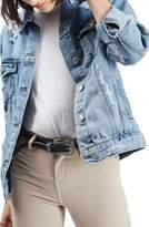 Topshop Women's Moto Ripped Oversize Denim Jacket