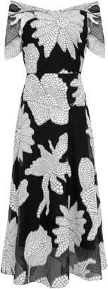 Roland Mouret Cutout Fil Coupe Cotton-blend Midi Dress