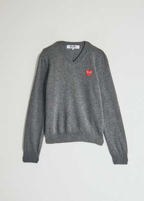 Comme des Garcons Women's Play Red Heart V-Neck Pullover Top in Grey, Size Extra Small | Wool