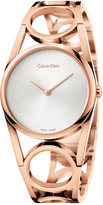 Calvin Klein Women's Swiss Round Rose Gold-Tone PVD Stainless Steel Bracelet Watch 33mm K5U2S646