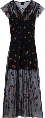 Anna Sui Lace-up Embroidered Tulle Midi Dress