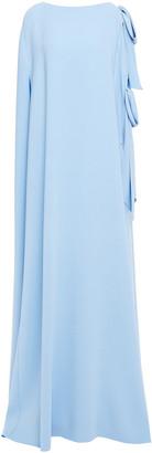 Oscar de la Renta Bow-detailed Silk-blend Cady Maxi Dress