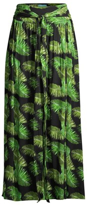 Melissa Odabash Elsa Palm-Print Maxi Skirt