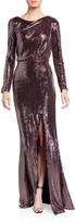 Badgley Mischka Sequin Long-Sleeve Asymmetric Back Cutout Gown