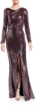 Badgley Mischka Sequin Long-Sleeve Asymmetric Back Cutout Gown