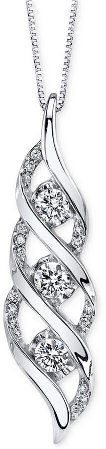 Sirena Diamond Twist Pendant Necklace (5/8 ct. t.w.) in 14k White Gold