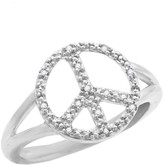 Savvy Cie Sterling Silver Pave Diamond Peace Sign Ring - 0.09 ctw