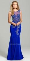 Camille La Vie Beaded Illusion Evening Dress