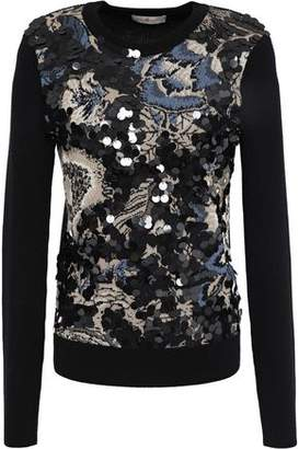 Tory Burch Agnes Merino Wool-paneled Embellished Jacquard-knit Sweater