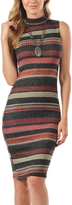 Magic Fit Charcoal & Red Stripe Mock Neck Bodycon Dress