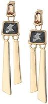 Robert Lee Morris Topaz & Black Diamond & Gold Linear Earrings