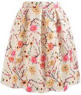 Mullsan Women's Print Floral Pleated Skirt Midi Skater Skirt Party Dress
