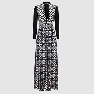 Mary Katrantzou Black Duritz Tile-Print Crepe De Chine Maxi Dress Size UK 8