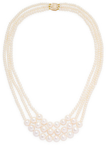 14K Yellow Gold Diamond and Pearl Necklace