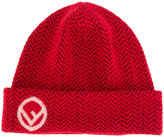 Fendi logo plague beanie hat