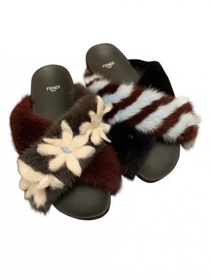 Fendi Black Mink Sandals