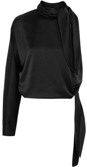 Diane von Furstenberg One-shoulder Satin Top - Black