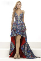 Janique - Printed Sweetheart Halter High-Low Ball Gown C1685