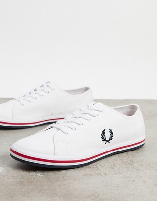 Fred Perry Kingston canvas plimsolls with contrast sole in white