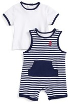 Little Me Infant Boy's Anchor Shortall Shirt & Romper Set