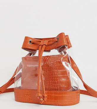clear My Accessories London Exclusive panelled & mock croc drawstring bucket bag-Multi