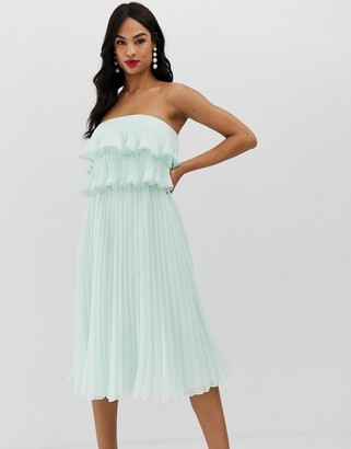 Bardot ASOS DESIGN pleat midi dress with ruffle top and trim detail