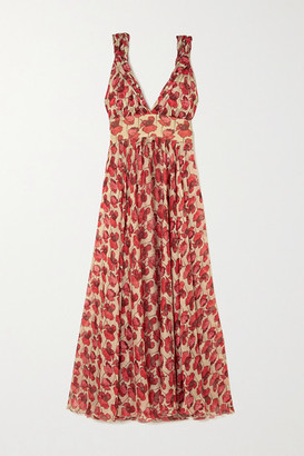 Raquel Diniz Julie Floral-print Silk-chiffon Maxi Dress - Red