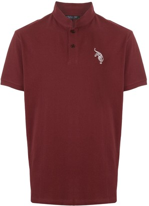 Shanghai Tang tiger embroidered Mandarin-collar polo shirt