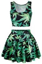 Uideazone Womens 3D Plum Flower Crop Tank Top Skater Skirt 2 Pieces Set Dress