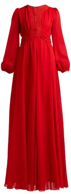 Giambattista Valli Macrame Lace And Crepe Gown - Womens - Red