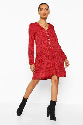 boohoo Micro Ditsy Button Pocket Smock Dress