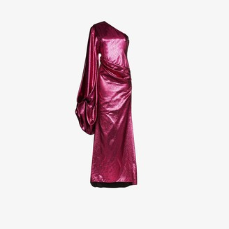 Halpern One Shoulder Draped Gown