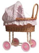 Little Ella James Pink Floral Wicker Dolls' Pram