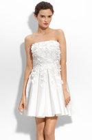 Petal Appliqué Strapless Taffeta Dress