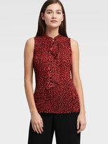DKNY Sleeveless Pleated Top With Tie Neck