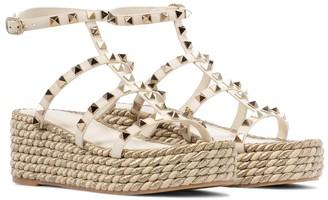 Valentino Rockstud Torchon leather espadrille sandals