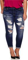 Boutique + Boutique+ Embroidered Destructed Skinny Jeans - Plus