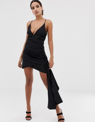 Asos Design DESIGN cami mini dress with plunge bodice and drape skirt detail