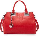 Charles Jourdan Peggy Alligator-Embossed Leather Satchel Bag, Red